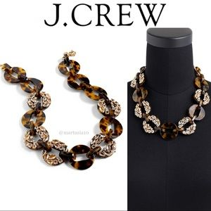 J.CREW Tortoise & Crystals Statment Necklace